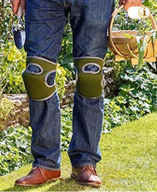 Knee pads with double straps for the house garden, green.