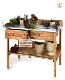 Plant table with drawers and base cabinet, brown.