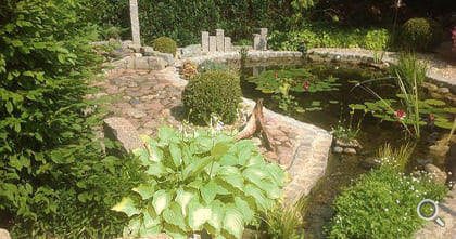 Natural pond with goldfish and design elements of stone.