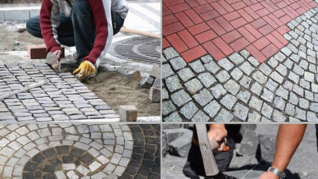 Paving work with clinker, natural stones and Carrara mosaic paving.