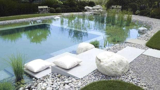 Schwimmteichanlage im Garten.